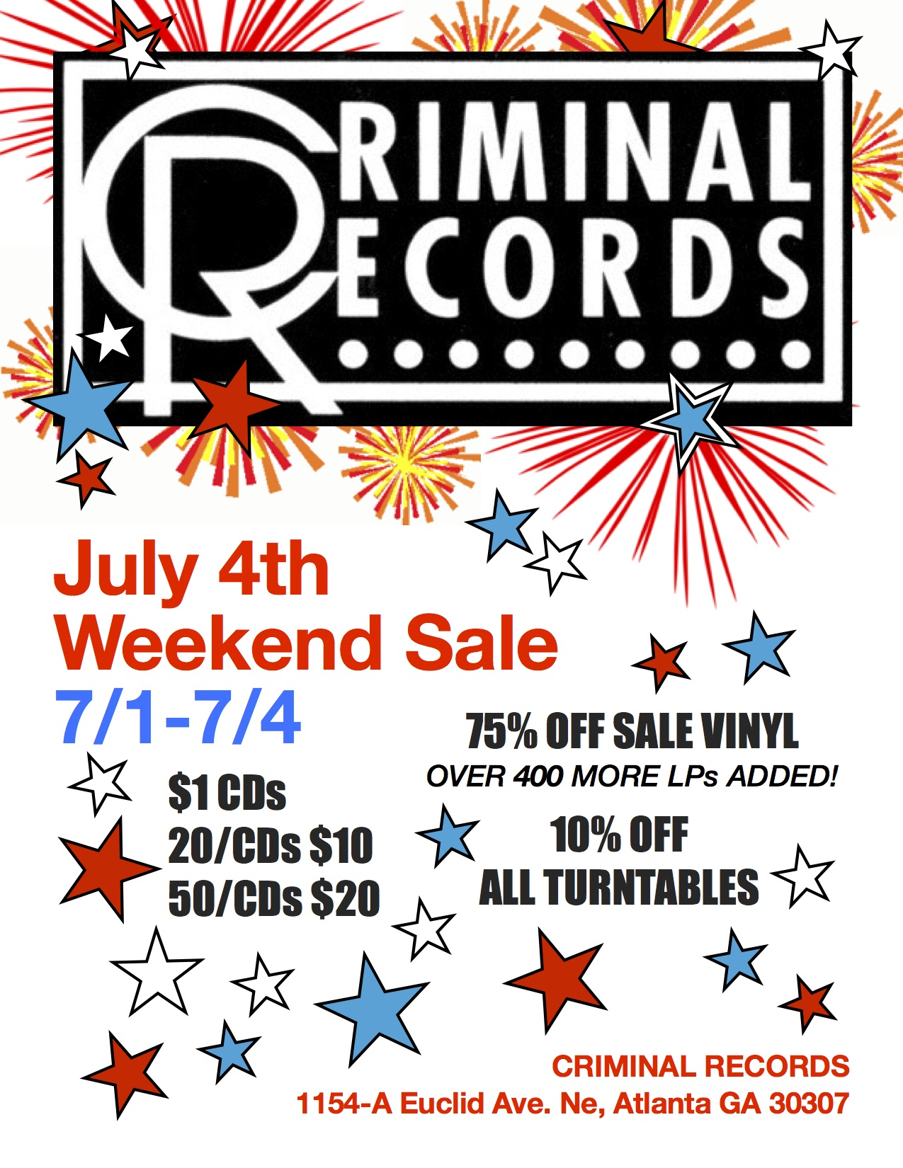4th of July Sale at Criminal Records